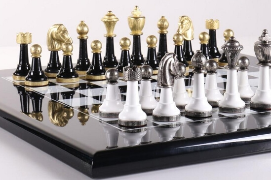 wood and metal chess set