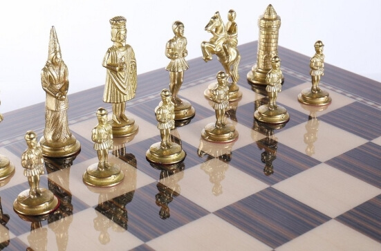 chess storage board metal pieces
